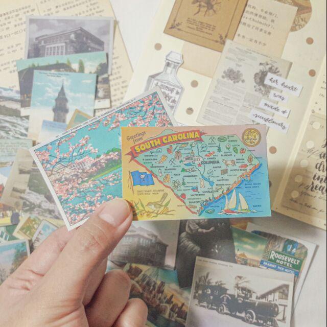 31 pcs. Vintage Postcard Sticker Ephemera (COD)