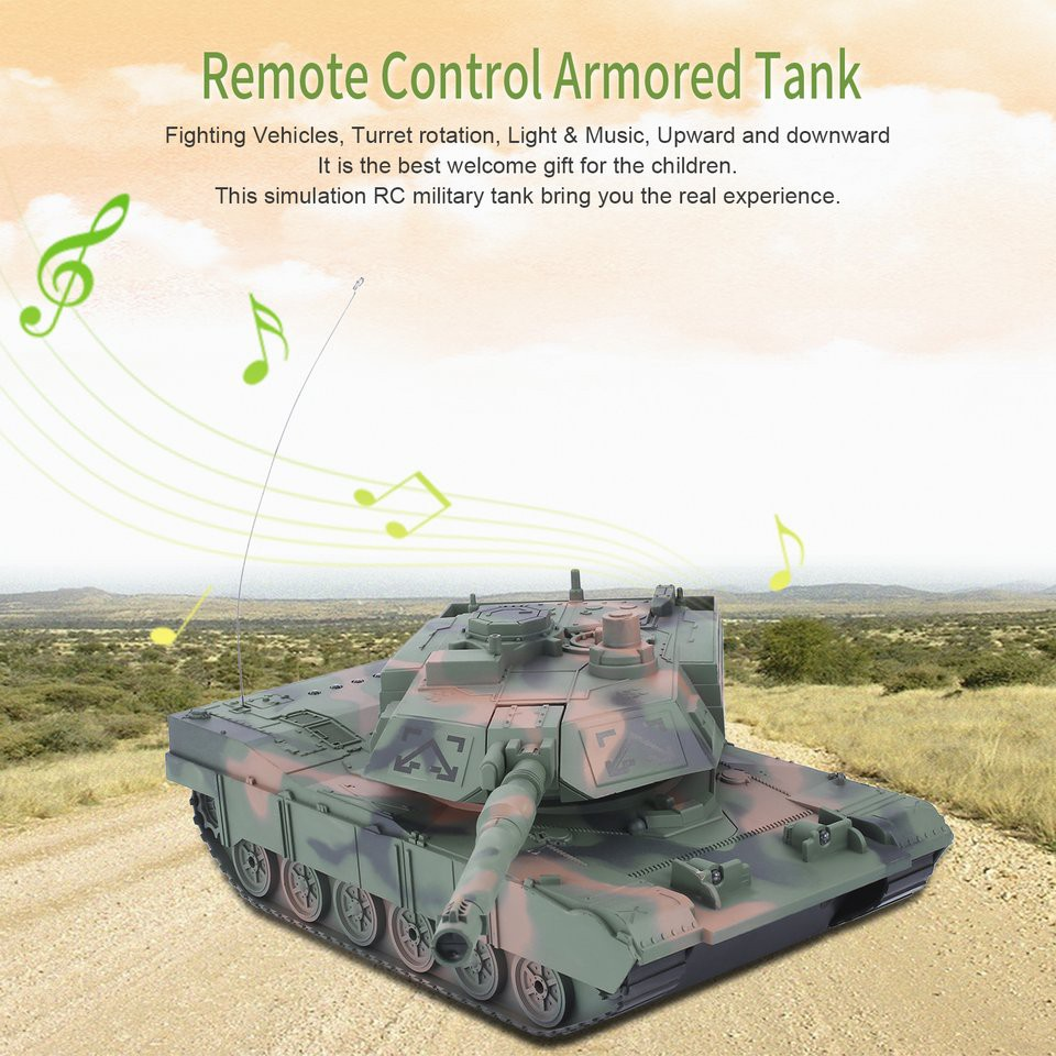 💘 DEY💘1:14 4CH Simulation RC Military Tank Turret Rotation Light & Music  Kids Toy