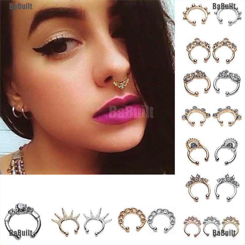 4pcs Non-Piercing Round Septum Hanger Clip-On Fake Nose Ring Non Piercing