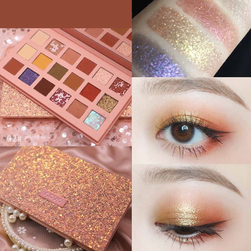 Bright Panda Glitter Eyeshadow 6 Color Lasting Waterproof No Makeup Easy Color Pearlescent Eye Shadow Powder Vibely Beauty & Health Beauty Essentials