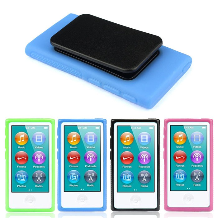 New Soft Rubber Gel Case Cover Belt Clip Holder for iPod Nano 7 7th Generation