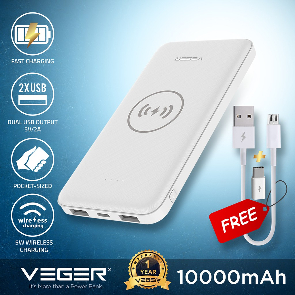VEGER Powerbank 10000mAh Wireless Charge Power Bank For iPhone8 & Galaxy S6  And Up VP1027W