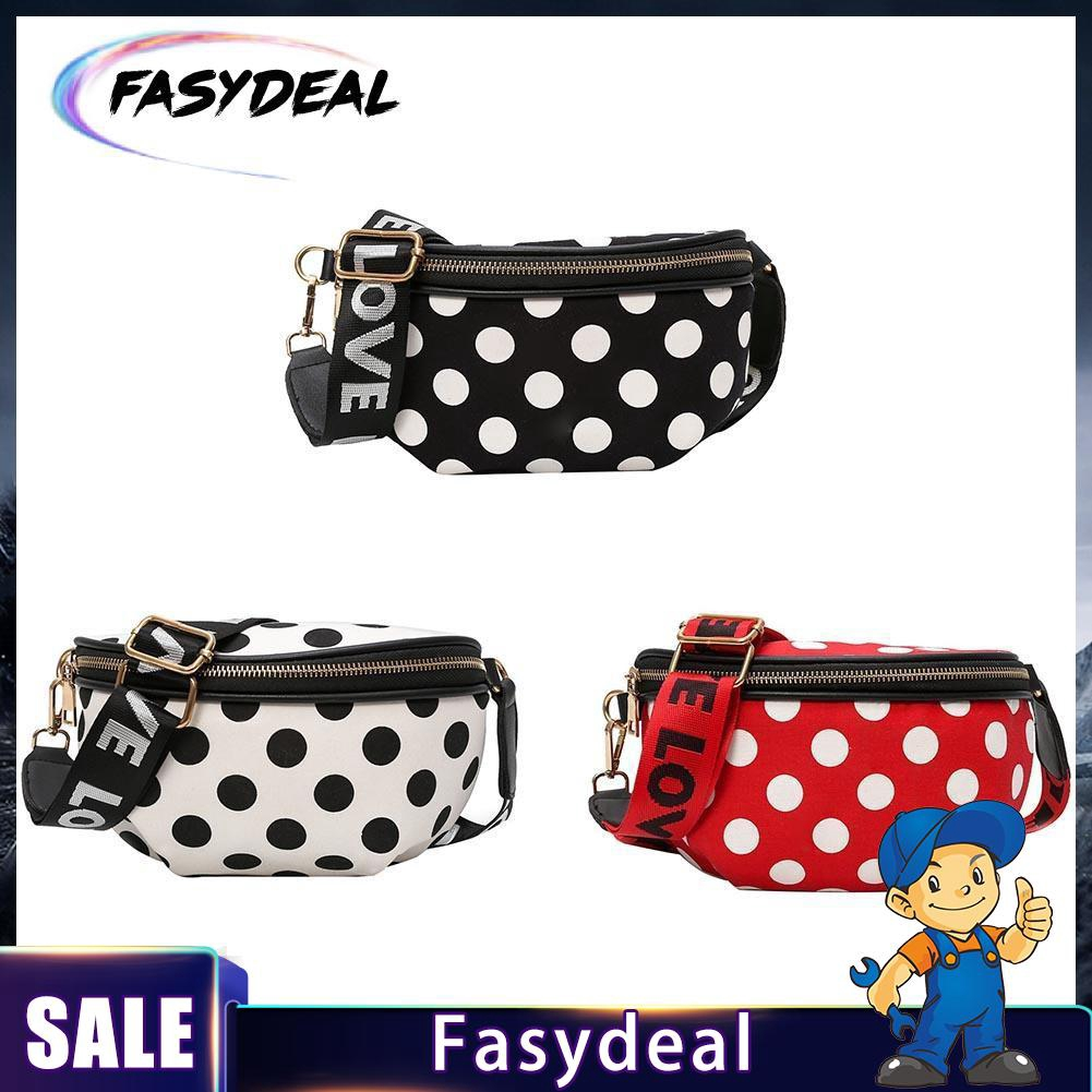 Casual Women Nylon Waist Bag Female Polka Dots Zipper Chest Fanny Pack