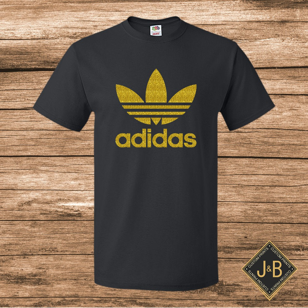 Adidas Inspired Shirt Gold Glitters