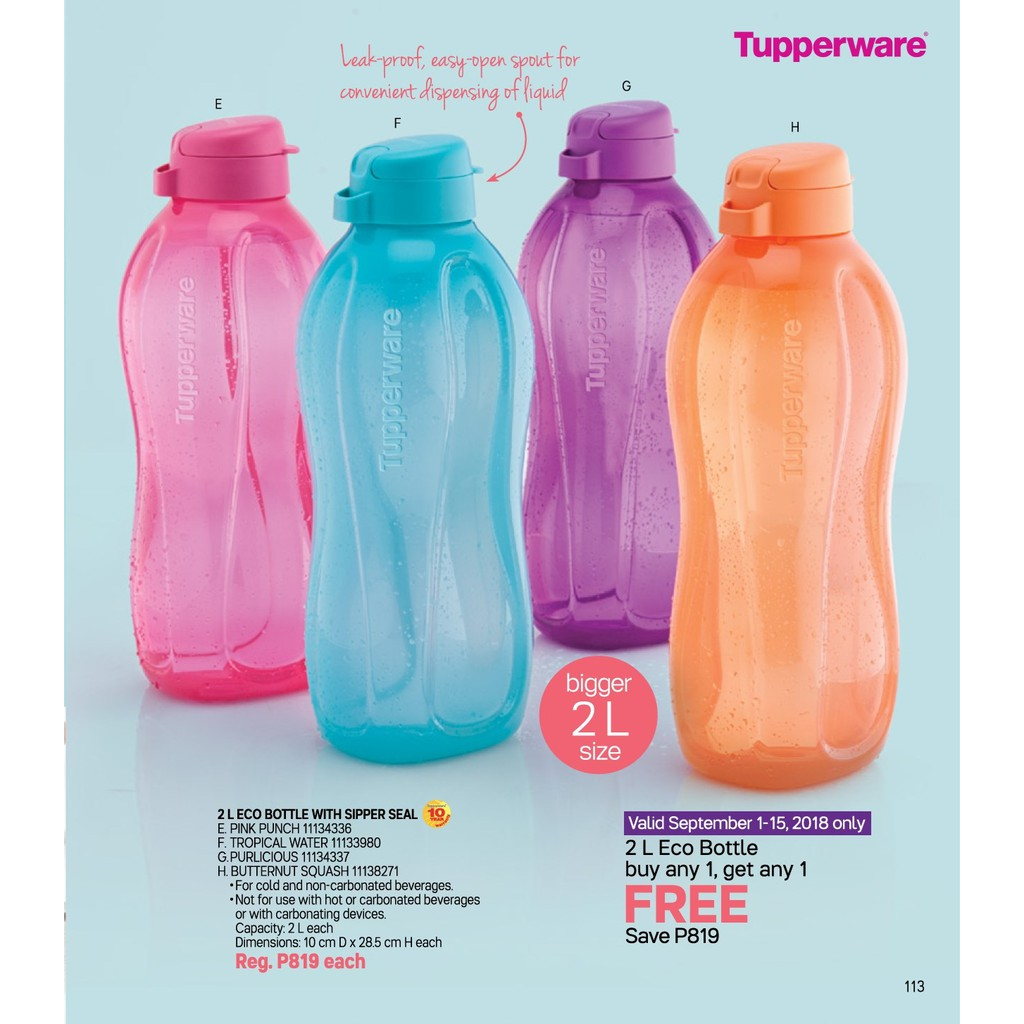 Tupperware Eco Bottle with Sipper Seal 2 Liter