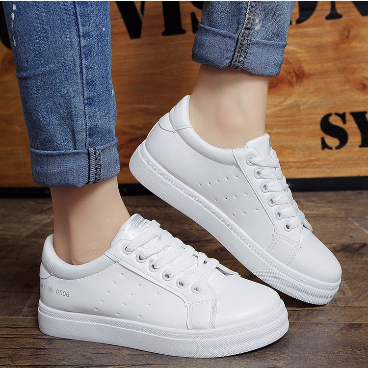 Korean White rubber shoes sneakers  Shopee Philippines