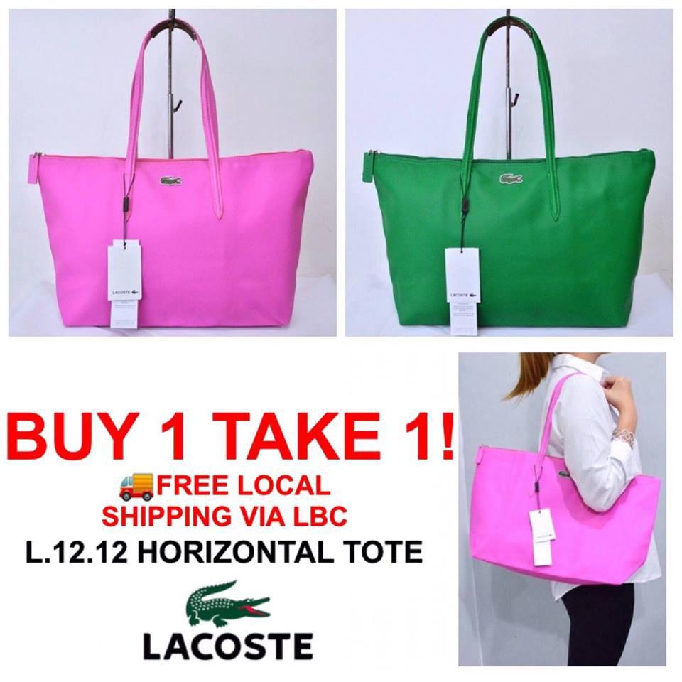 572d1cf2438 LACOSTE L.12.12 CONCEPT HORIZONTAL LARGE ZIP TOTE BAG | Shopee Philippines