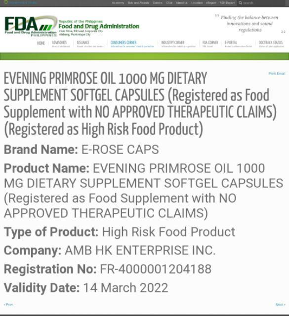 Evening Primrose Oil 1000mg+GLA 100mg(E-ROSE CAPS)30 Capsule