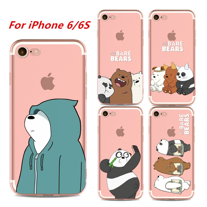 new product 1c9fa b6626 We Bare Bears Phone Case For iPhone 6 6s Soft TPU Casing