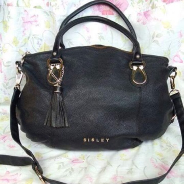 Preloved Authentic Sisley Leather Two Way Black Bag  3fb9119a05c1d