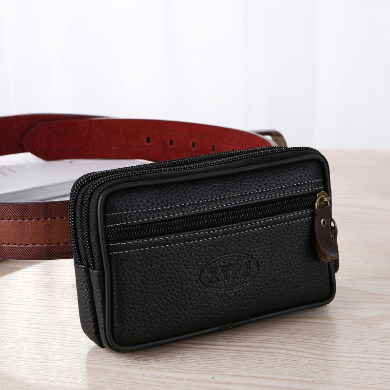 Men Belt Phone Coin Waist Bag Leather Waist Pack Sport Hiking Outdoor Pouch Gift
