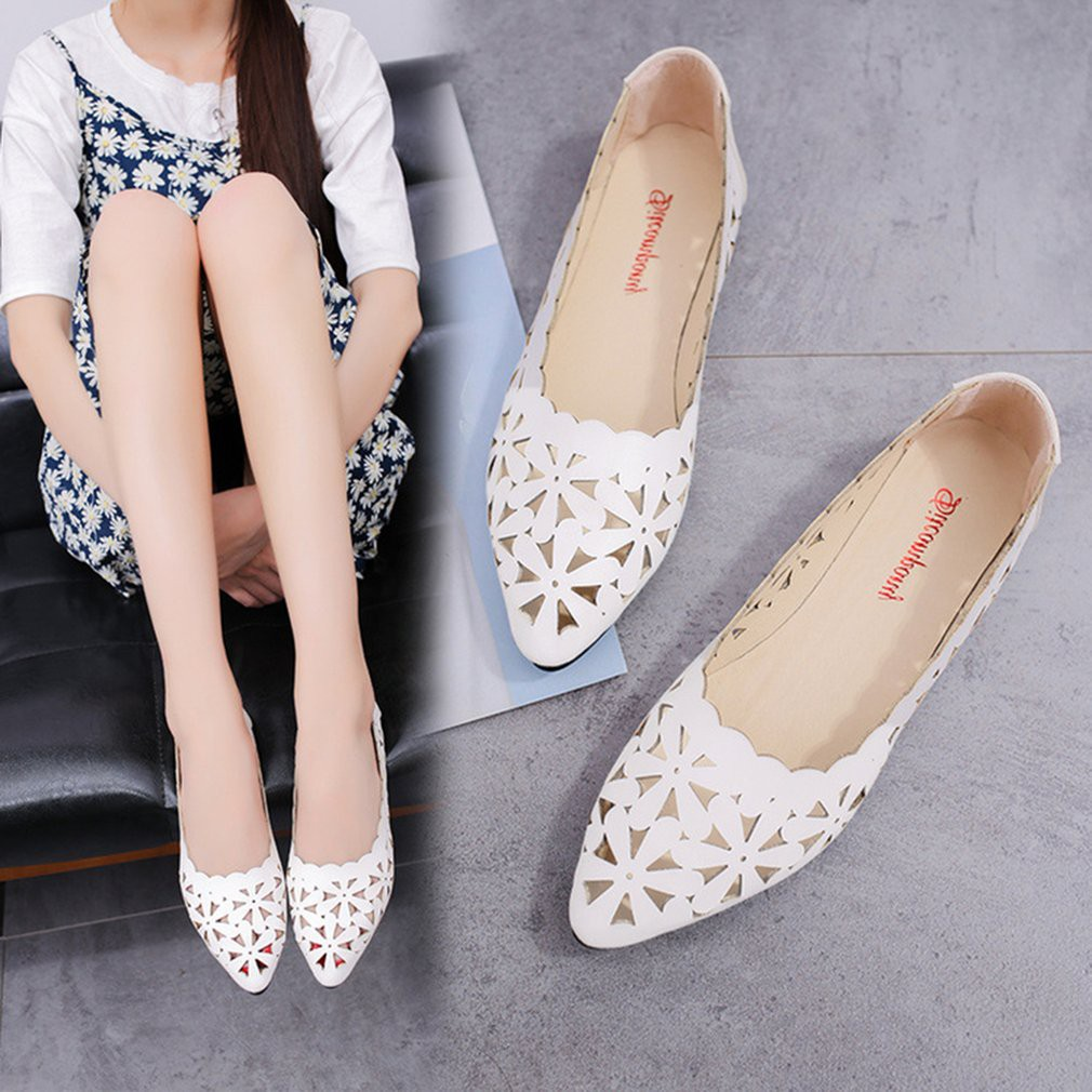 6f58a93df89 Women Soft PU Leather Flat Shoes Ladies Hollow Out Pointed Toe Single Shoes