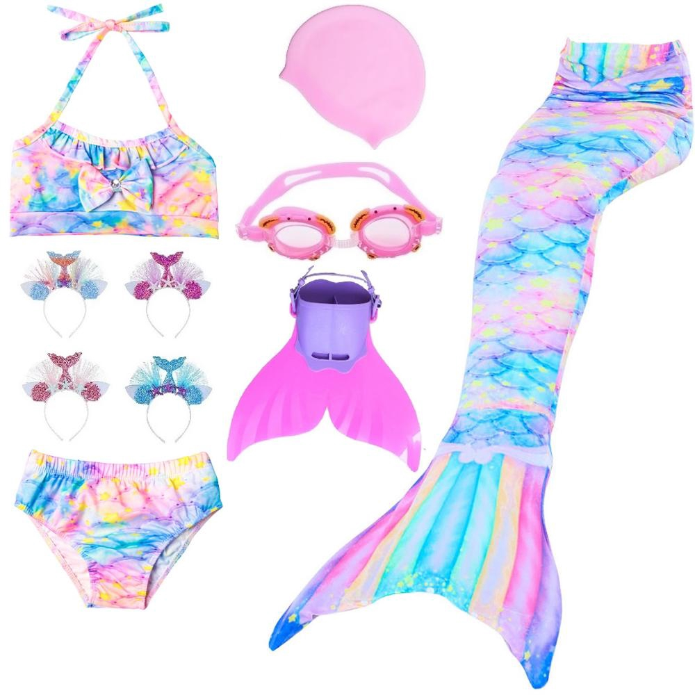 Girl Kids Swimmable Mermaid Tail Monofin Bikini Sets Bathing Swimsuit Costume UK