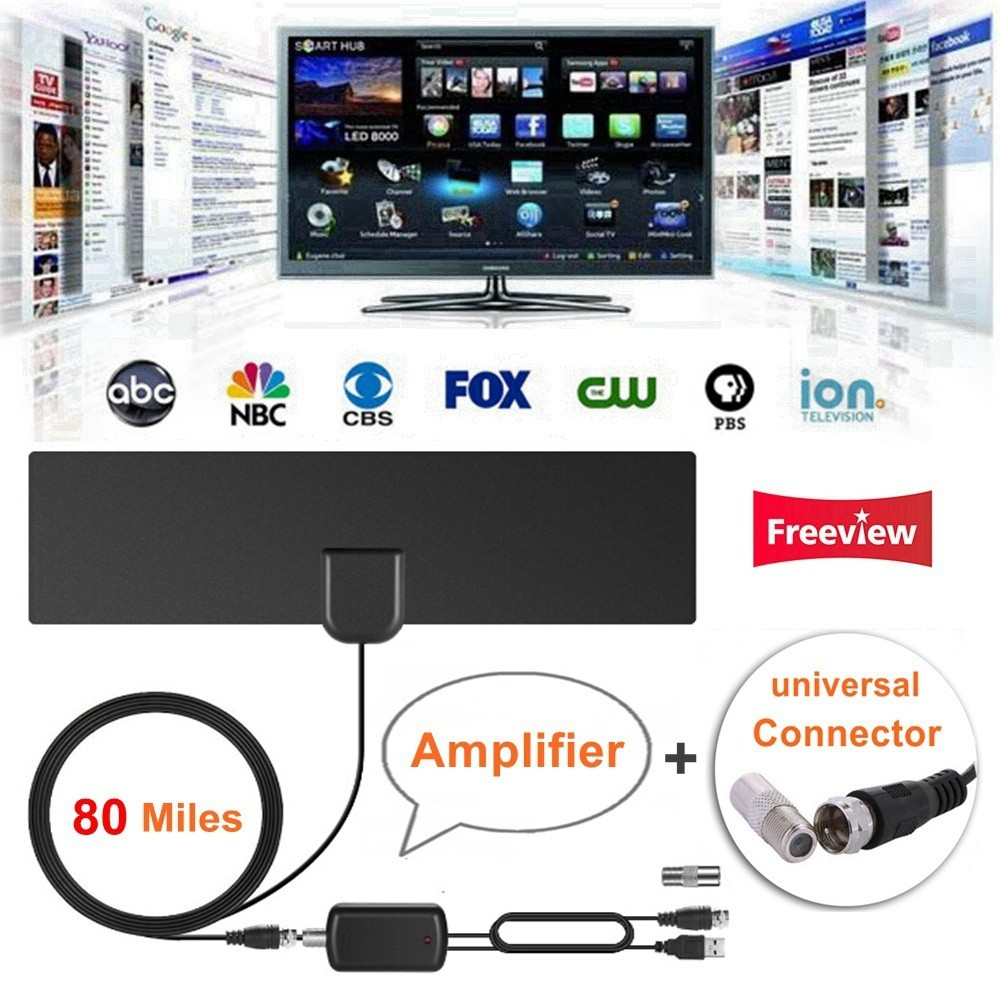 Digital HDTV Indoor TV Antenna with Signal Amplifier Booster