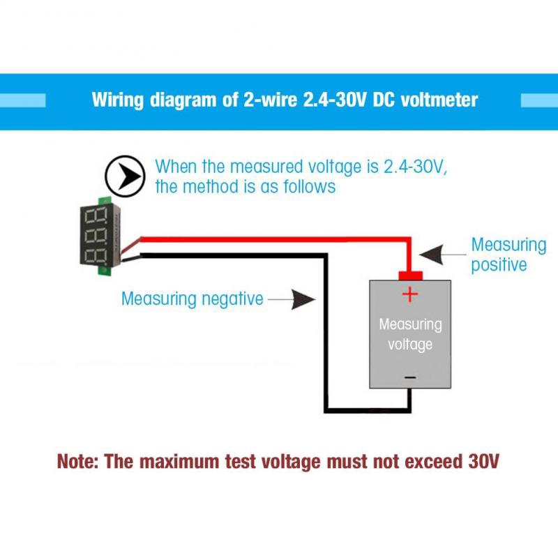 Superparis 5pcs Blue 0 36 Inch Digital Led Panel Voltmeter Two Wire Dc Volt Meter Voltage Gauge Test Shopee Philippines