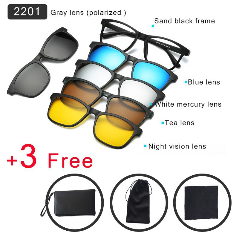 93375c29e1 6 In 1 Magnetic Sun Glasses Clip On Polarized Len Sunglasses ...