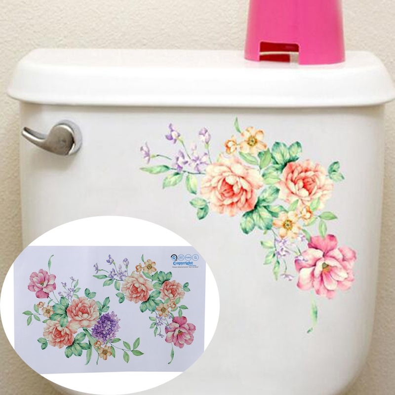 Peony Flower Bathroom Toilet Kitchen Fridge Wall Sticker Decals Home Decor