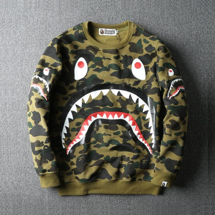 9be72be67f87 Bape Shark camouflage sweater