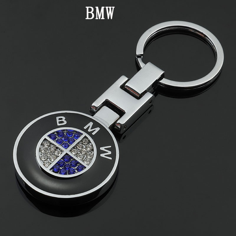 for BMW Key Chain Accessories Keyring Genuine Leather Car Logo Keychain for Men and Woman with Logo Pink