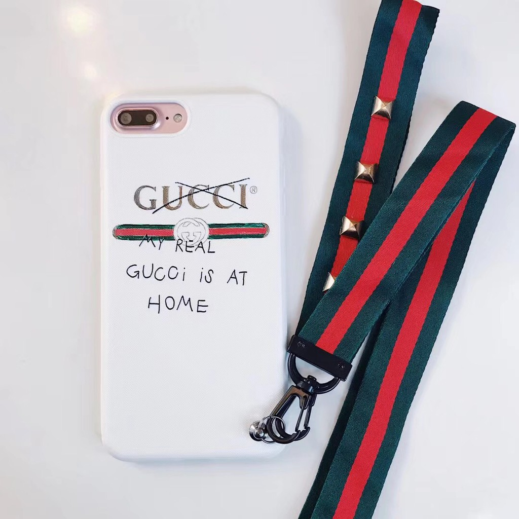 lowest price 5ceeb eab87 Gucci soft Case Cover for IPhone X 8 8P 7 7P 6 6s 6P lanyard