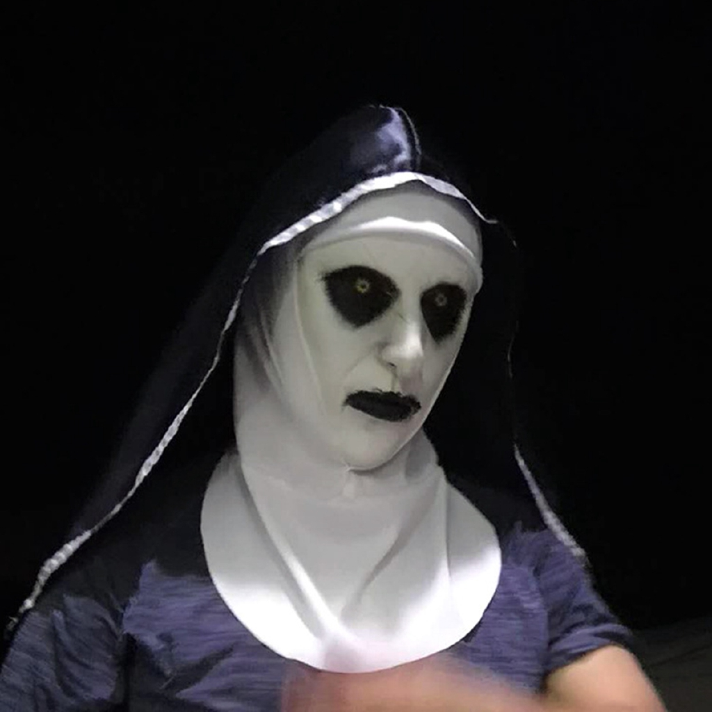 54a2657051 Nun Horror Mask + Hood Helmet Valak Halloween Scary Cosplay Costumes Prop  Party