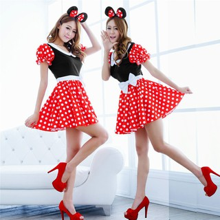Minnie Mouse Christmas Dress.Christmas Minnie Mouse Women Costume Cosplay Dress Outfit