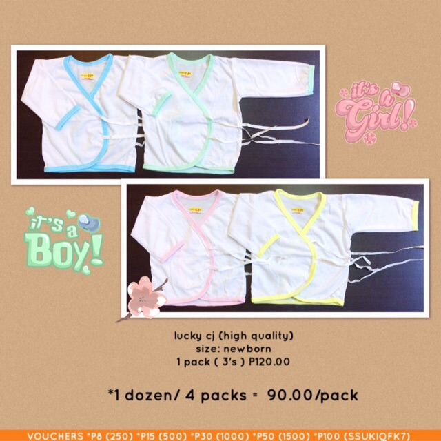 newborn wrap tie long sleeves colored lining (lucky cj) 3's/pack