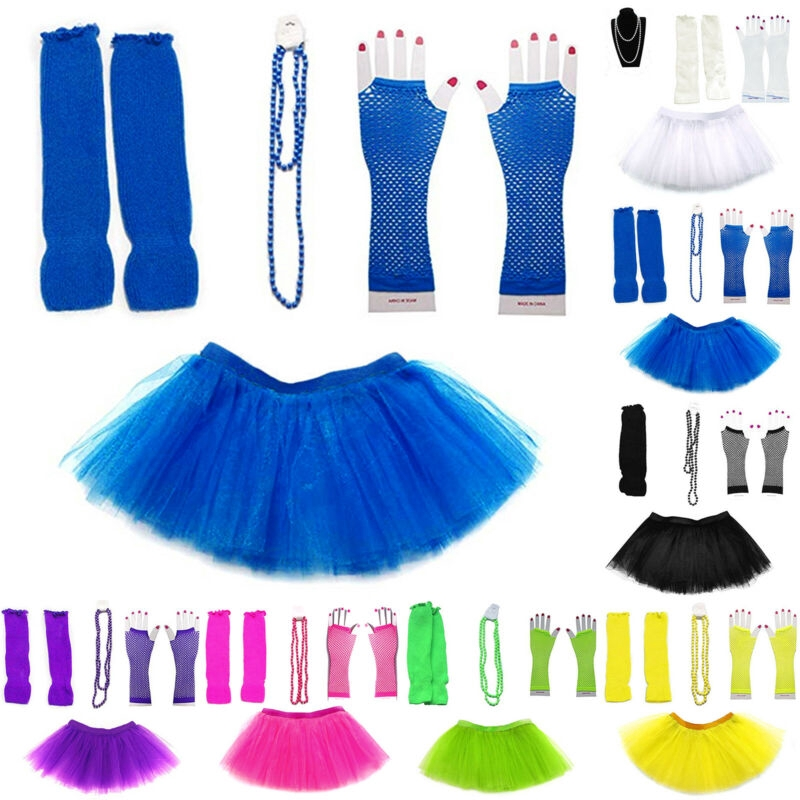 I LOVE THE 80s Ladies Vest Outfit Fancy Dress Costume Neon Tutu 80/'s Gloves