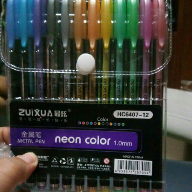 ZUIXUA METALLIC GEL PENS 12 colors   Shopee Philippines