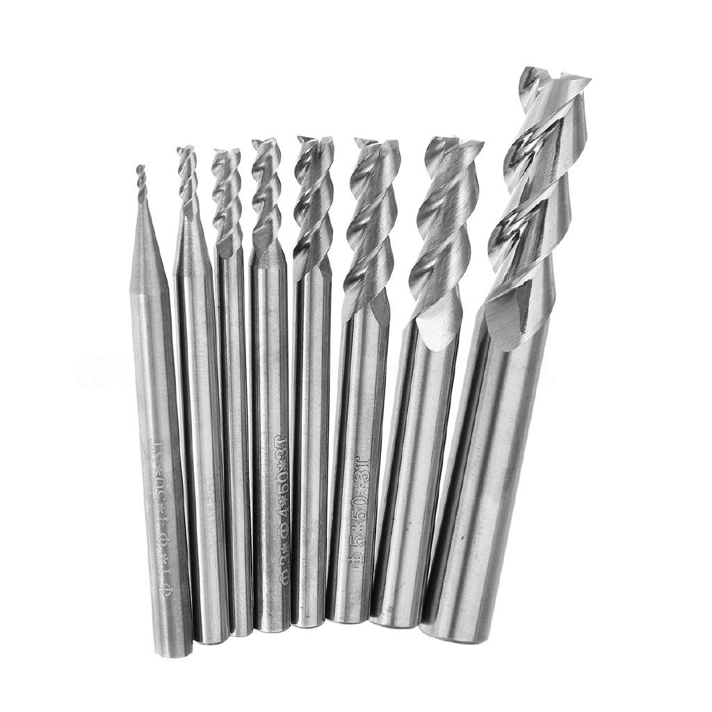 5x 1//8/'/' Titanium Nitride Coated Carbide CNC Double Two Flute Spiral Bits 12mm