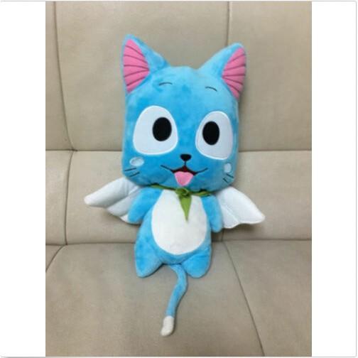 Cute Anime Fairy Tail Happy Stuffed Doll Blue Cat Cartoon Plush Toy Kids Gift