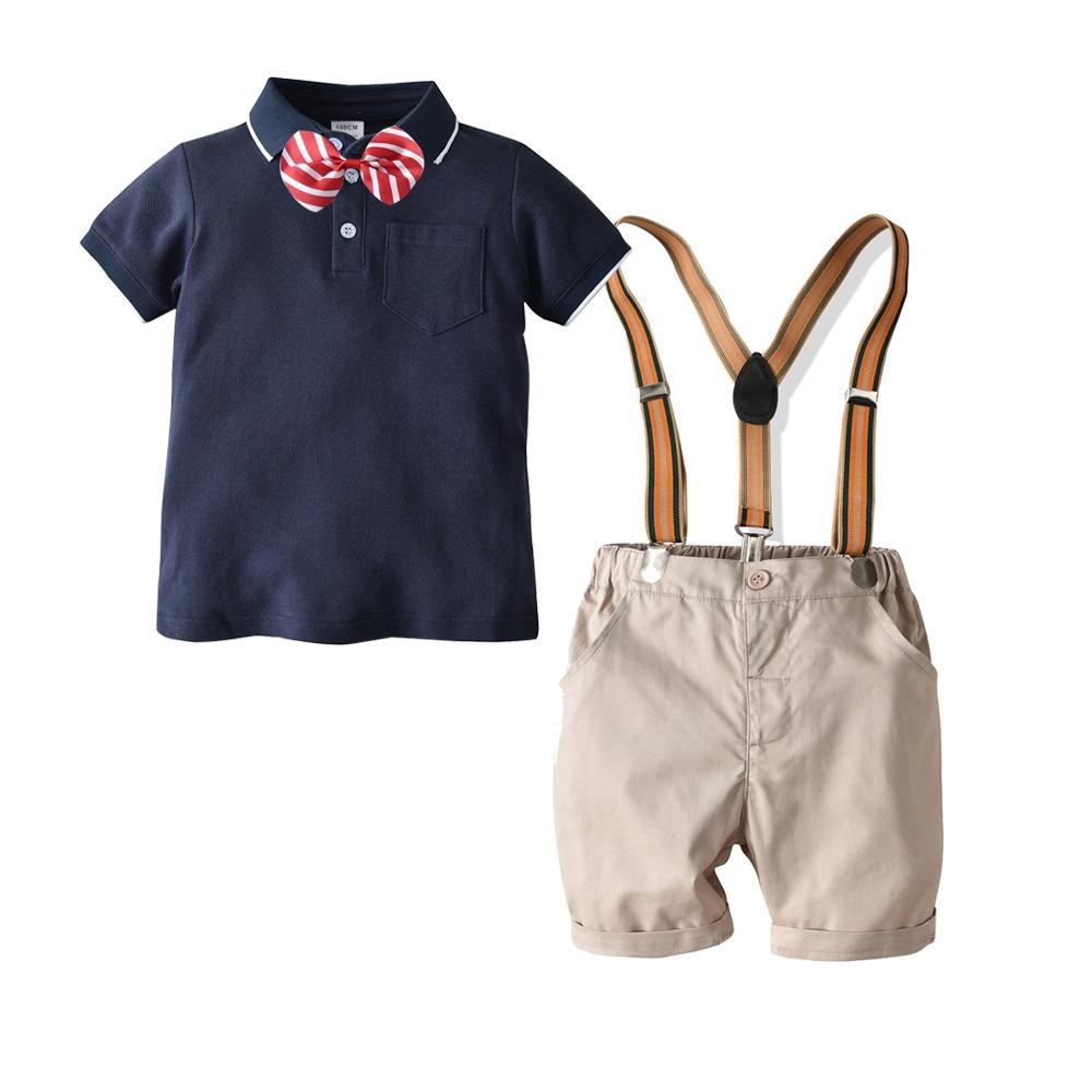 Baby Boy Short Sleeve Bow Tie Romper Suspender Shorts Gentlemen Outfits Set