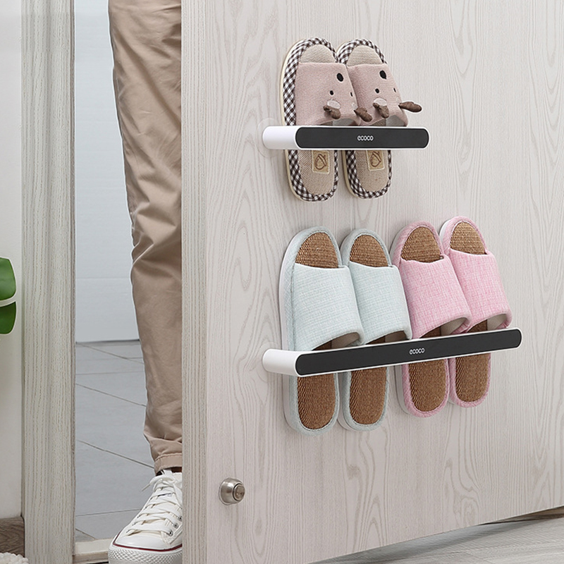 ECOCO Slippers Rack Slippers Organizer Wall-Mounted Rack Punch Free Rack  for Home Shoe Cabinet Plastic Sandal Shelf TLMY | Shopee Philippines