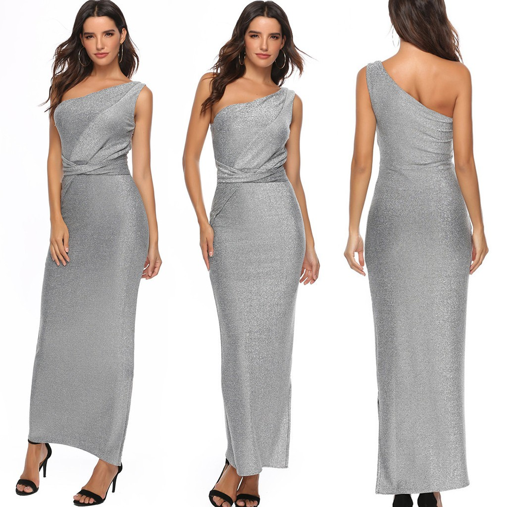 Women Ladies Plus Size Single Shoulder Maxi Dress Wedding Party Cocktail Dress Shopee Philippines,Pakistani Wedding Wear Dresses For Girls