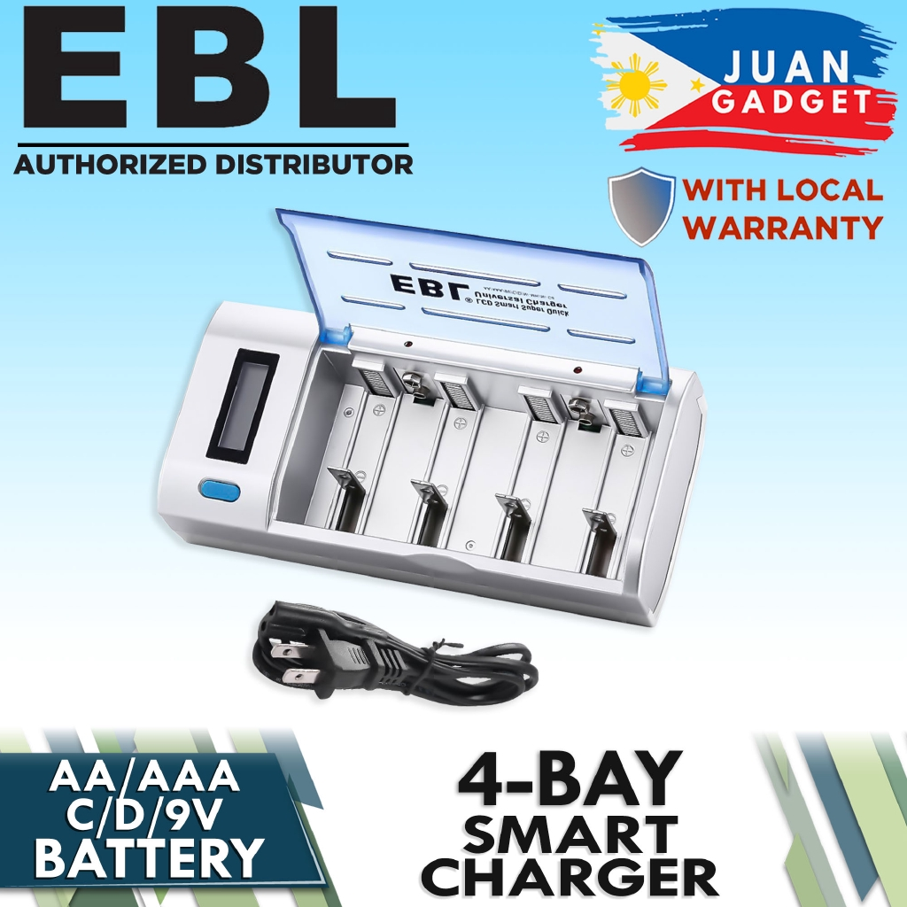 EBL 8-Bay LCD Battery Charger USB Port Type C Input for AA AAA C D Rechargeable Batteries Rechargeable C Battery 5000mAh /× 2 D Battery 10000mAh /× 2 and Battery Charger Combo