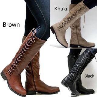 53b2c6382b9 Women Side Knee High Thigh High Combat Low Heel Boots Shoes   Shopee ...