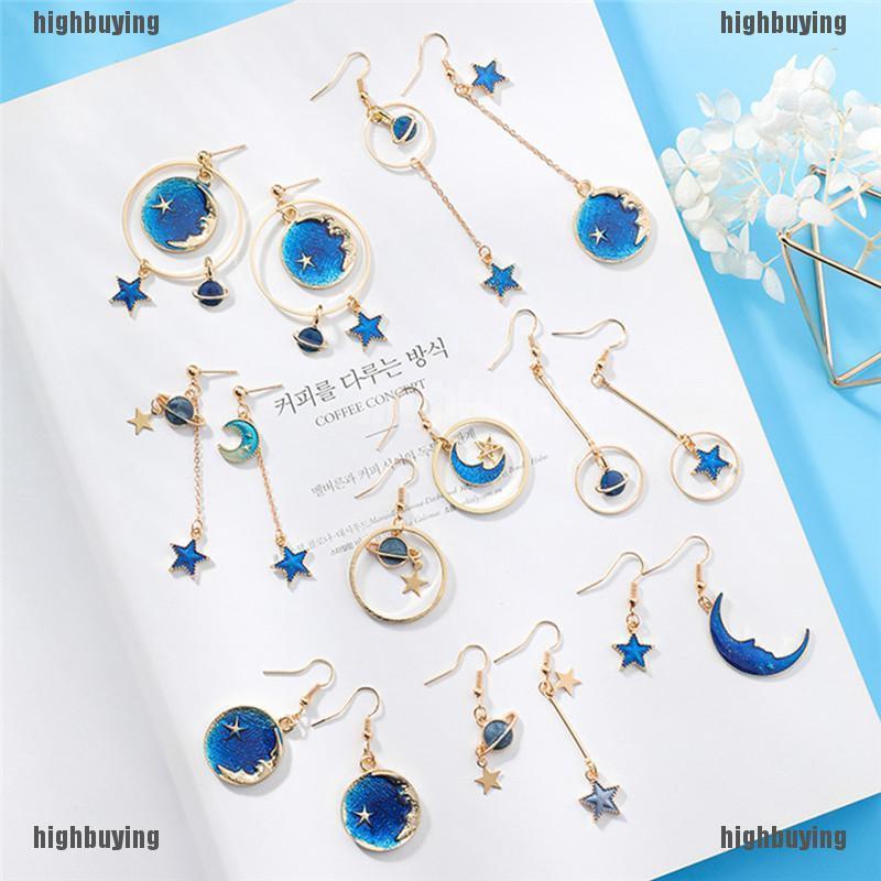 Blue Star Moon Drop Dangle Earrings Women Ear Stud