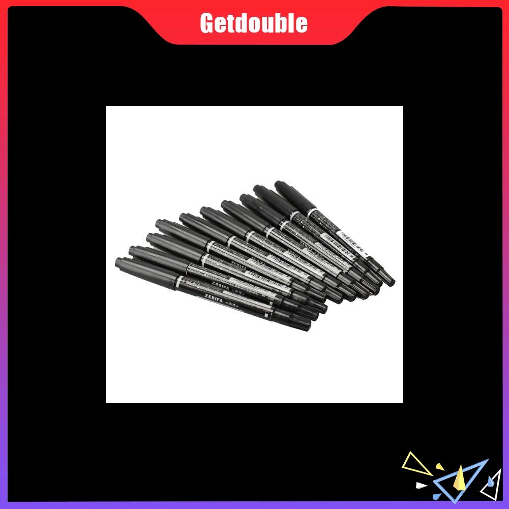 10PCS Fine Dual Heads Marking Pen Marker Waterproofink Thin Nib Black