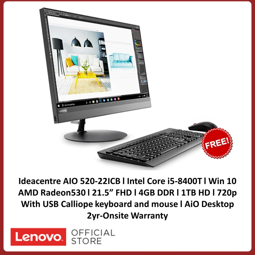 Lenovo Ideacentre AIO 520-22ICB F0DT005JPH Intel Core i5-8400T free KB and  Mouse