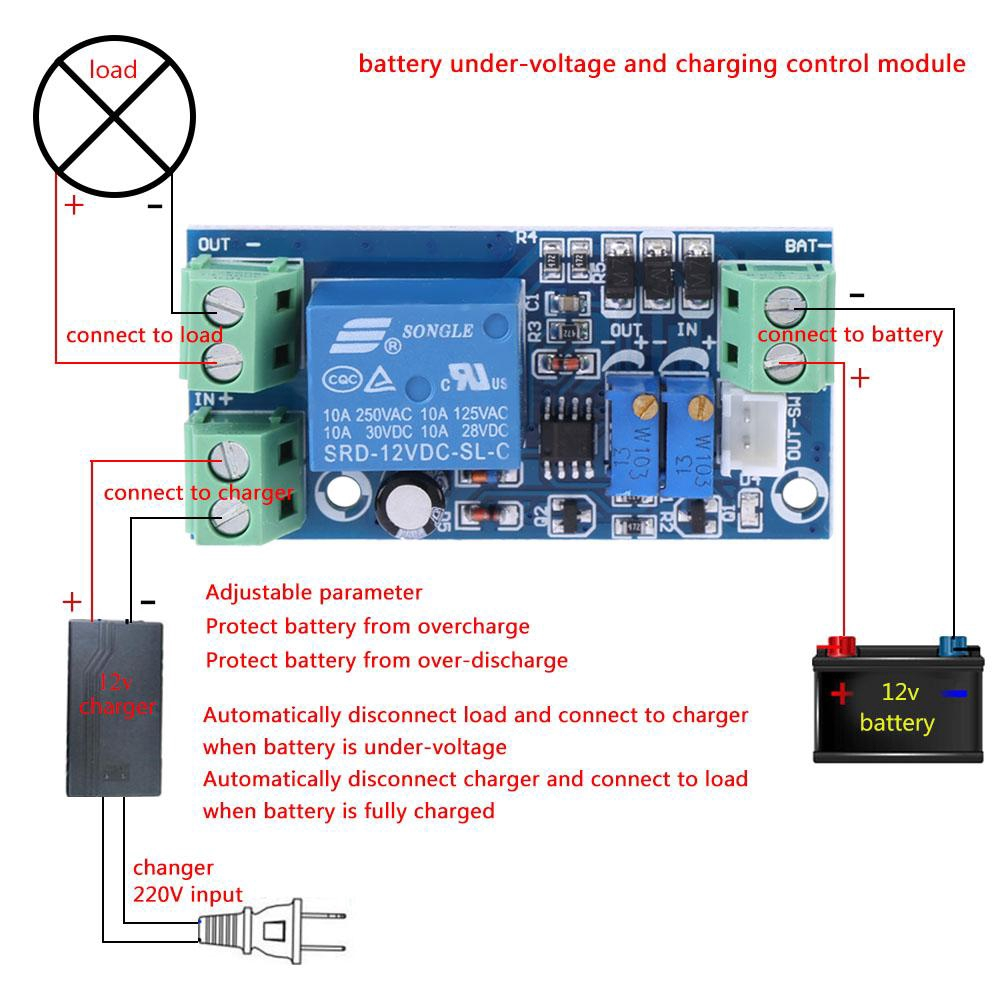 12V Battery Low Voltage Cut off Automatic Switch On Protection Undervoltage Controller Undervoltage Control