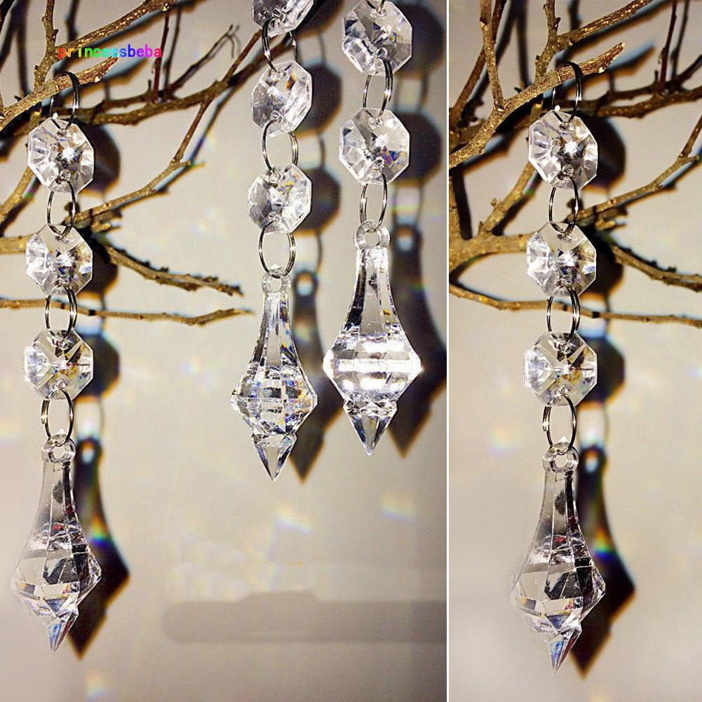 10pcs Crystal Beads for Chandelier Clear Glass Beads Lamp Chain for Wedding Party DIY Christmas Crystal Garland Decoration