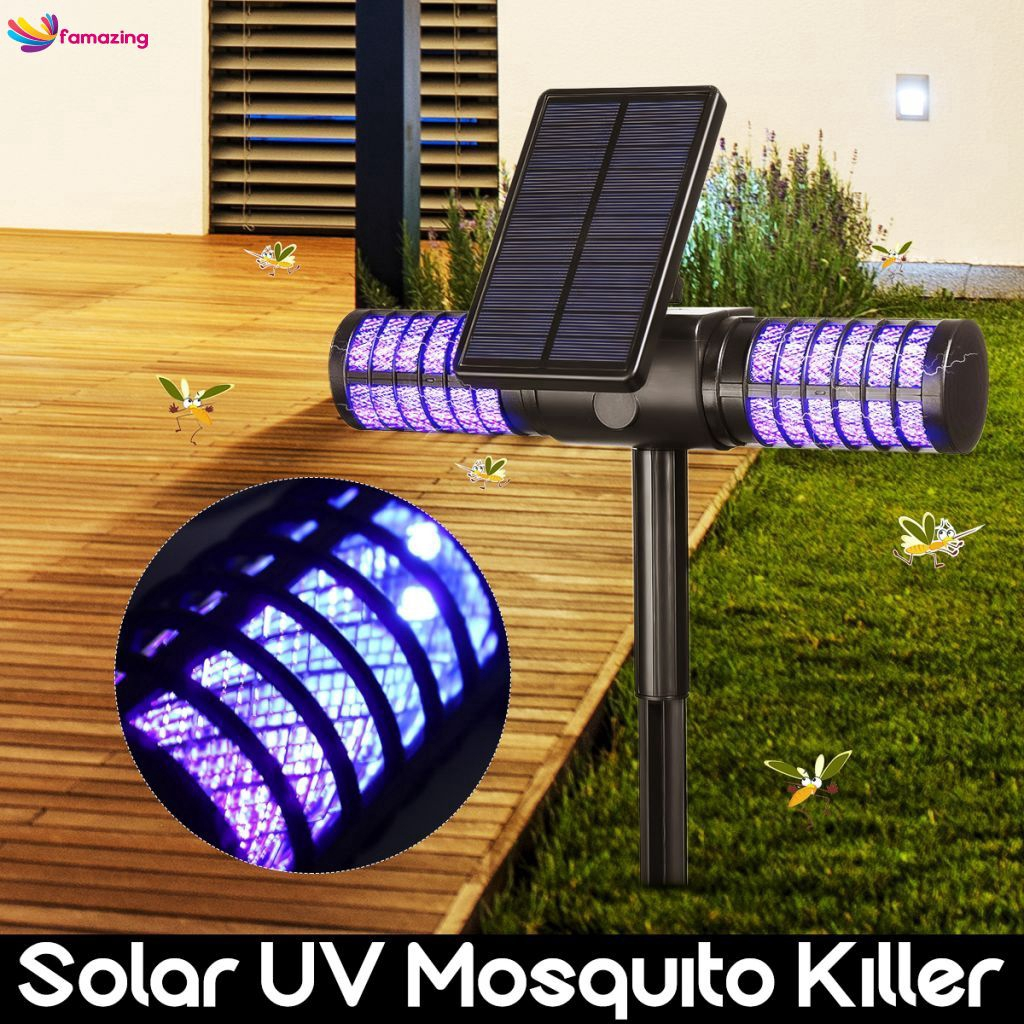 Solar Mosquito Killer Light USB Repellent IP65 Insect UV