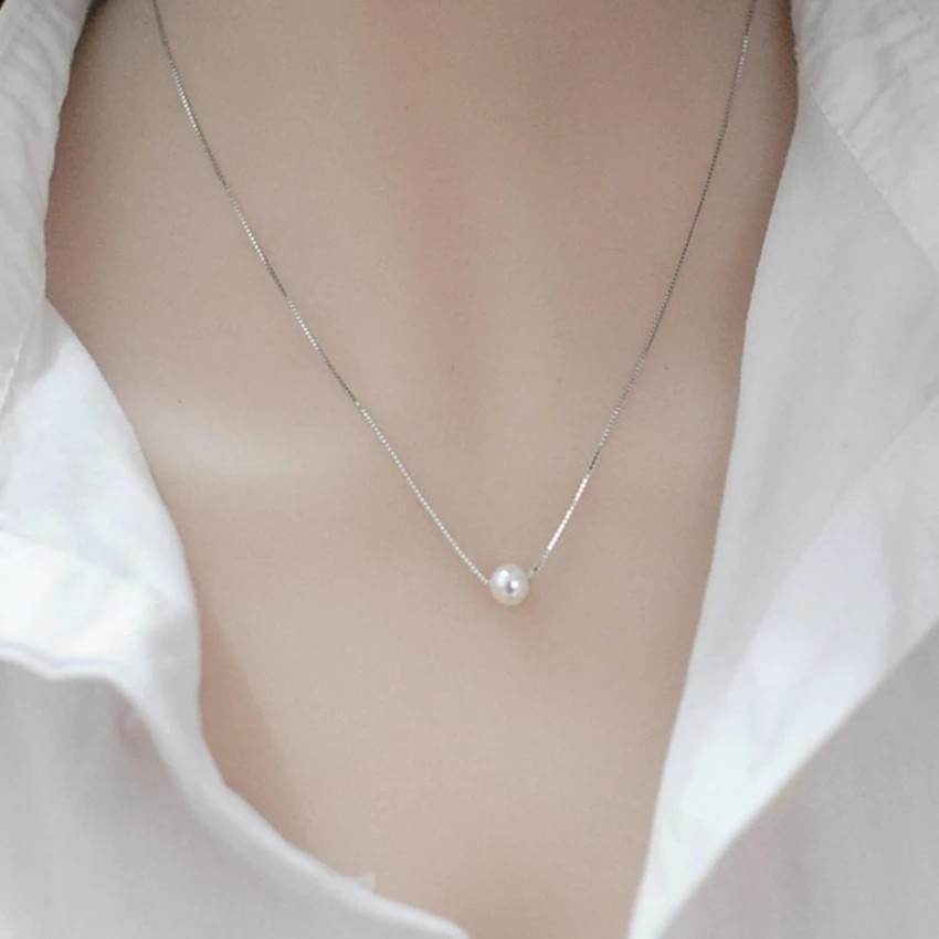 925 Silver Pearl Necklace Simple Pendant Jewelry XL002