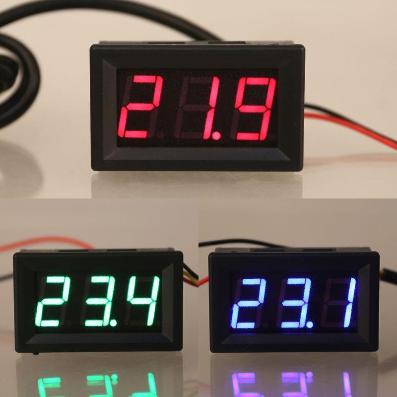 "DC 12V 0.56/"" Temperature Sensor Meter LED Digital Thermometer Detector Monitor"