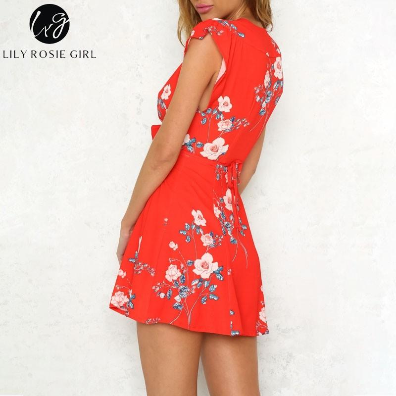 6d2274b4fa872 Lily Rosie Girl 2018 Red deep v neck chiffon floral print summer dress Women