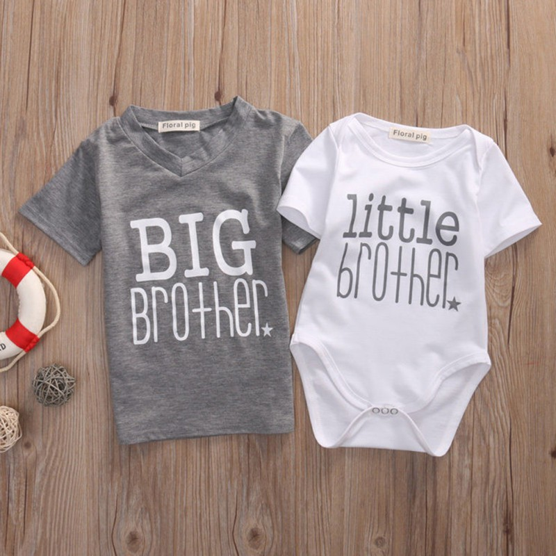 Summer Baby Boys Romper Big Brother T-shirt Family Set