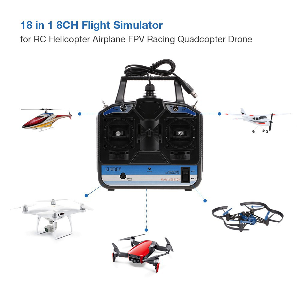 18 in 1 8CH USB Flight Simulator Emulator for RC Helicopter