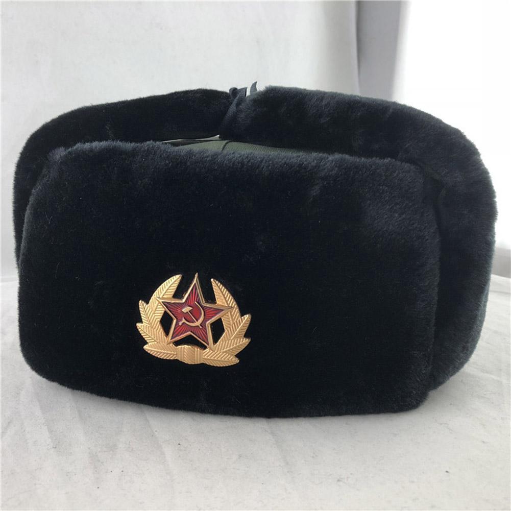 WARM WINTER CAP RUSSIAN TRAPPER HAT SOVIET BADGE MILITARY USHANKA COSSACK UNISEX