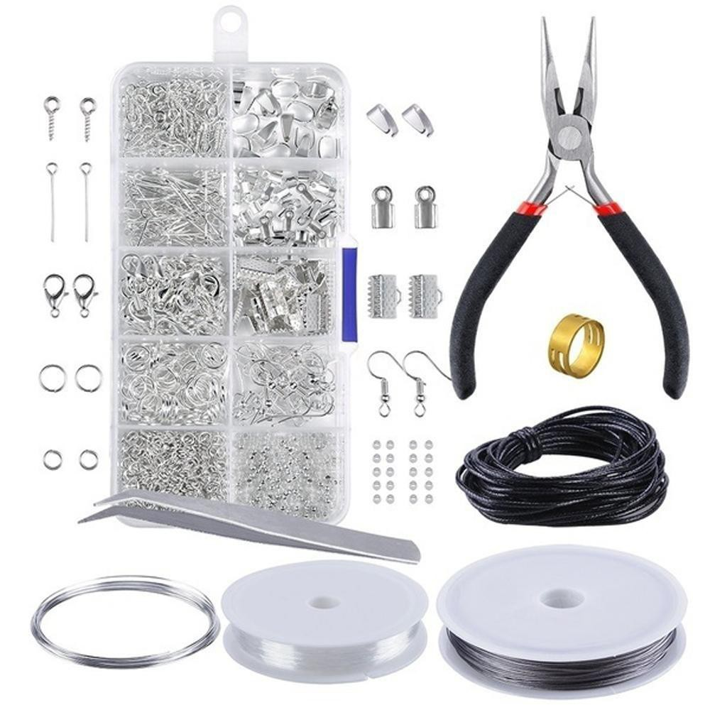 DIY Jewelry Supplies Making Tools Kits Set Head Pins Lobster Clasps Chain Beads