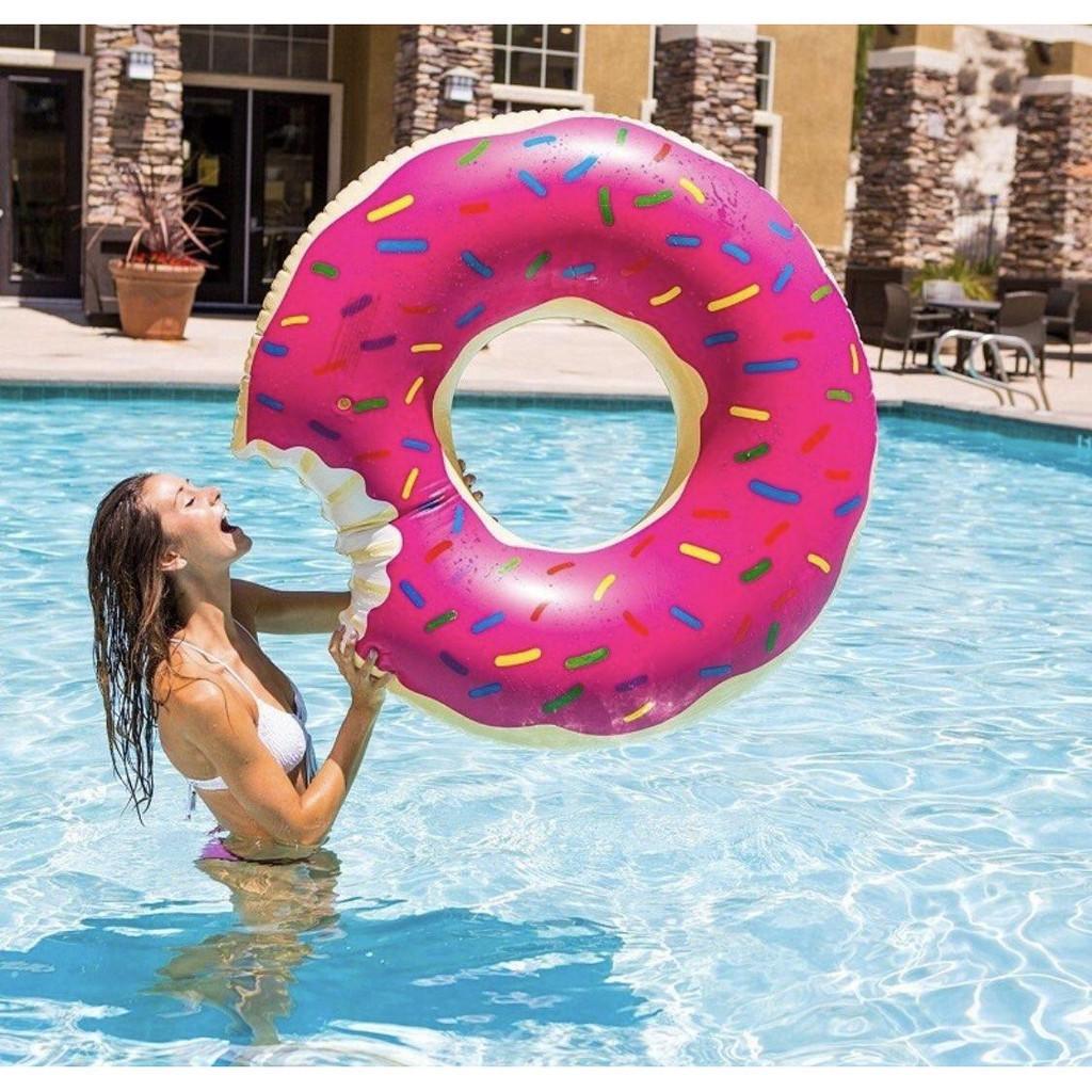 Inflatable Swim Ring Giant Fun Bite Shape Donut Swimming Pool Water Float Raft